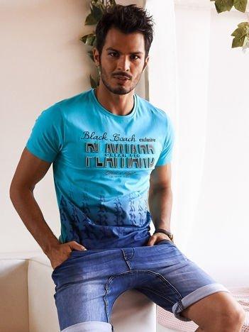 Morski t-shirt męski ombre z wypukłym nadrukiem tekstowym