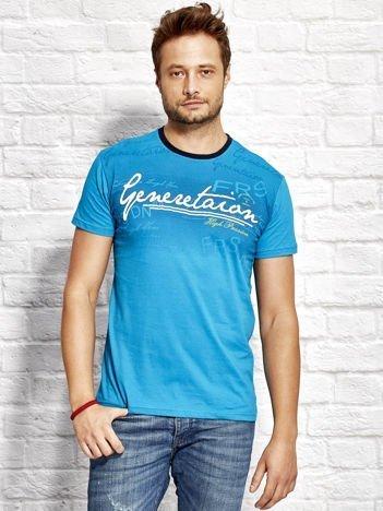 Morski t-shirt męski z motywem tekstowym