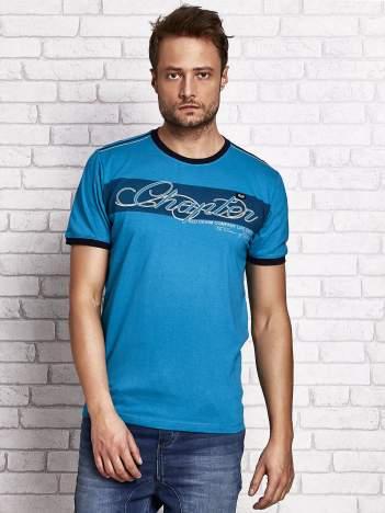 Morski t-shirt męski z tekstowym nadrukiem