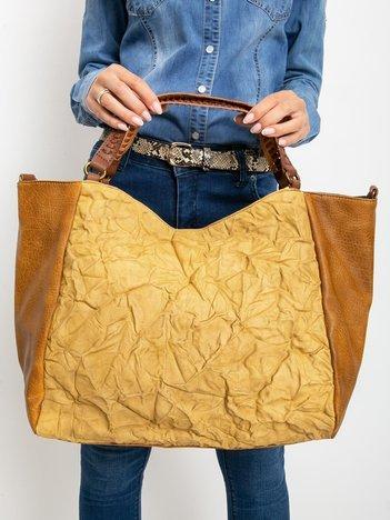 Musztardowa duża torba z ekoskóry