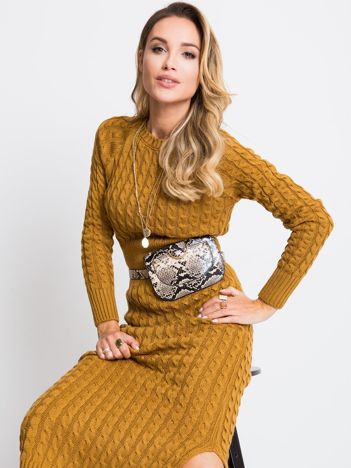 Musztardowa sukienka Travel