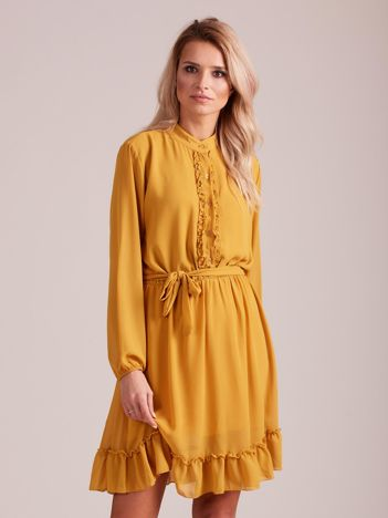 Musztardowa sukienka damska z falbankami