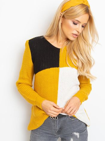 Musztardowo-czarny sweter Latina