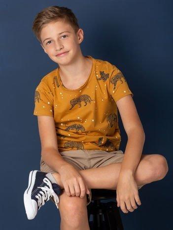 Musztardowy t-shirt dla chłopca w tygrysy