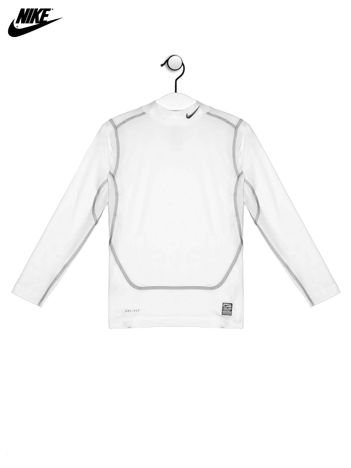 NIKE Biała bluzka chłopięca z kontrastowymi przeszyciami