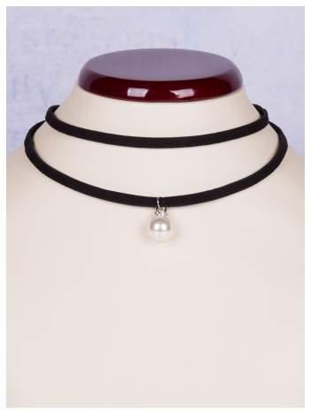 Naszyjnik czarny CHOKER podwójny z wiszącą perłą