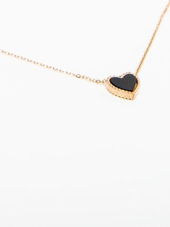 Naszyjnik damski z czarnym serduszkiem pozłacany 14-karatowym złotem