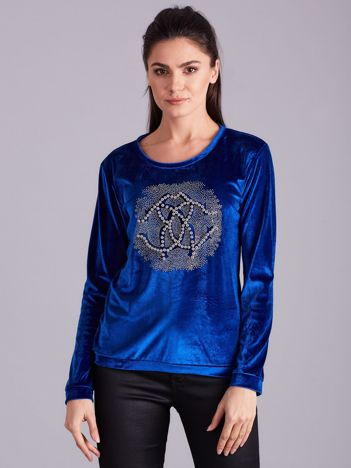 Niebieska aksamitna bluza damska z aplikacją