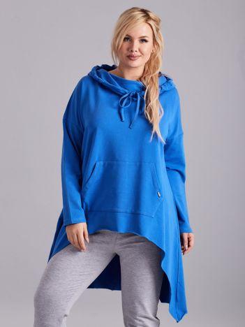 Niebieska asymetryczna bluza PLUS SIZE