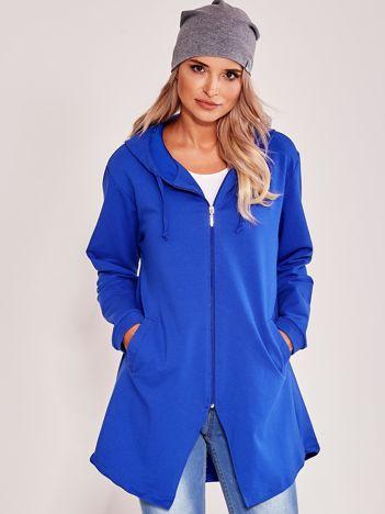 Niebieska asymetryczna bluza z kapturem