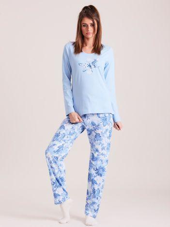 Niebieska bawełniana piżama damska