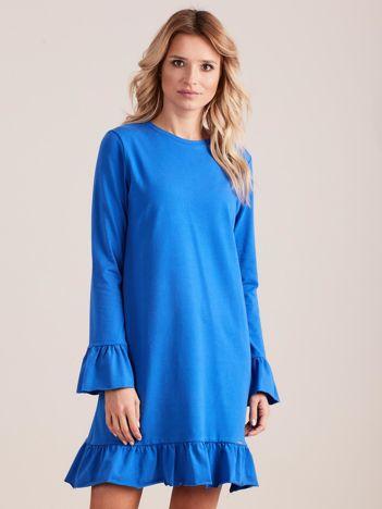 Niebieska bawełniana sukienka z falbanką