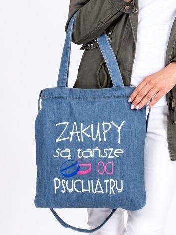 Niebieska bawełniana torba ZAKUPY SĄ TAŃSZE OD PSYCHIATRY