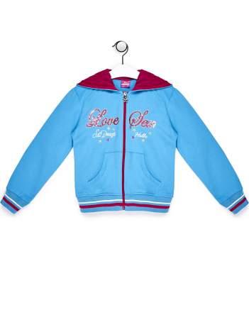 Niebieska bluza dla dziewczynki z cekinowym napisem