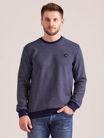 Niebieska bluza męska w drobny geometryczny wzór