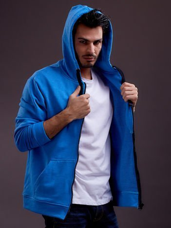 Niebieska bluza męska z kapturem i troczkami