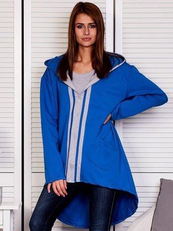 Niebieska bluza z kontrastowym suwakiem