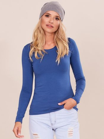 Niebieska bluzka basic z długim rękawem