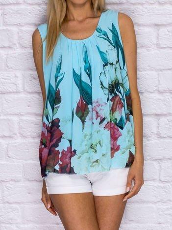 Niebieska bluzka koszulowa z motywem floral print