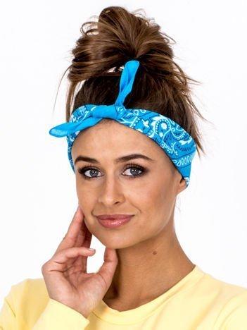 Niebieska chustka bandanka na głowę ze wzorem paisley