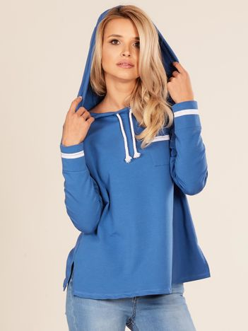 Niebieska damska bluza z kapturem