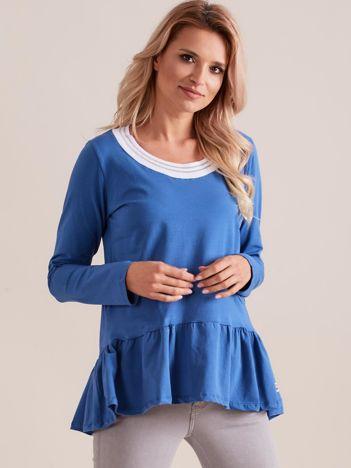 Niebieska damska bluzka z baskinką