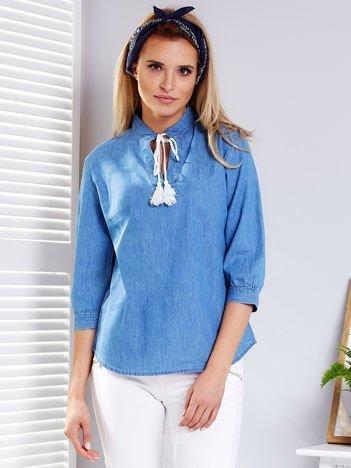 Niebieska denimowa bluzka z frędzlami