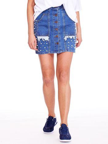 Niebieska denimowa spódnica z perełkami