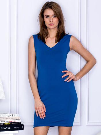 Niebieska dopasowana sukienka V-neck