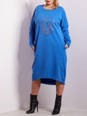 Niebieska dresowa sukienka z kieszeniami PLUS SIZE