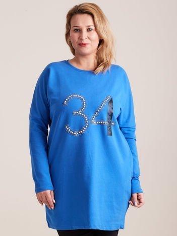 Niebieska dresowa tunika z aplikacją PLUS SIZE