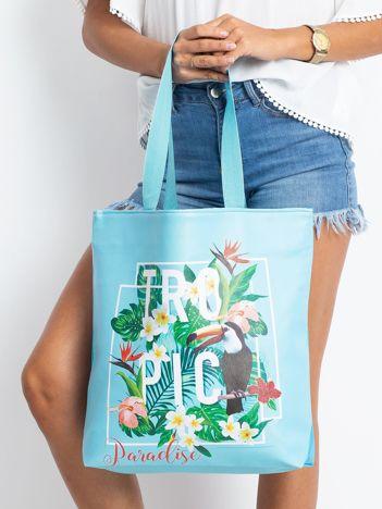 Niebieska duża torba z nadrukiem