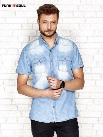 Niebieska jeansowa koszula męska FUNK N SOUL