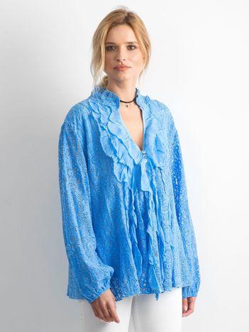 Niebieska koronkowa bluzka