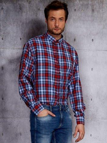 Niebieska koszula męska w czerwoną kratę