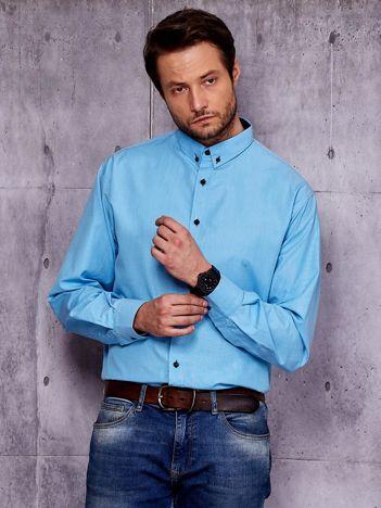 Niebieska koszula męska w delikatny wzór PLUS SIZE