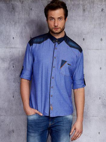 Niebieska koszula męska z denimowym kołnierzykiem