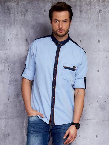 Niebieska koszula męska z kontrastową lamówką
