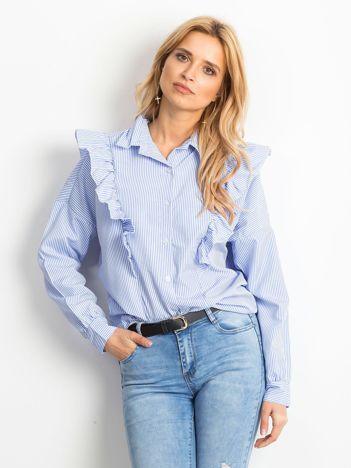 Niebieska koszula w paski z falbanami