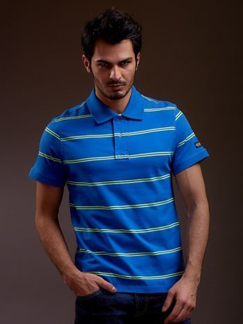 Niebieska koszulka polo męska w paski FUNK N SOUL