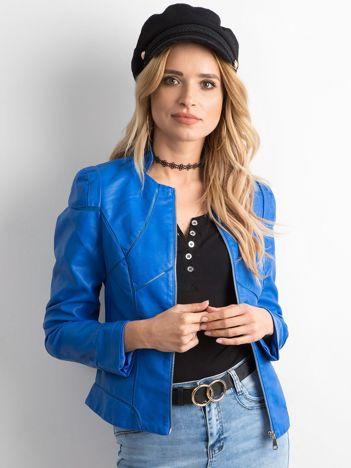Niebieska kurtka damska z imitacji skóry