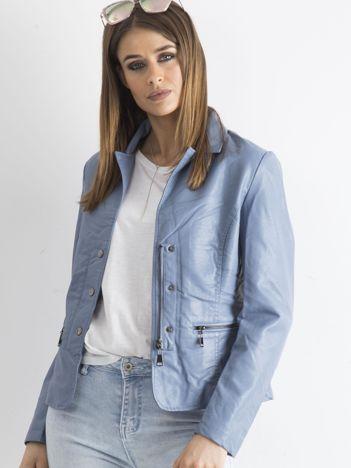 Niebieska kurtka damska ze skóry ekologicznej