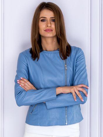 Niebieska kurtka z ekoskóry