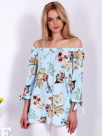 Niebieska kwiatowa bluzka hiszpanka
