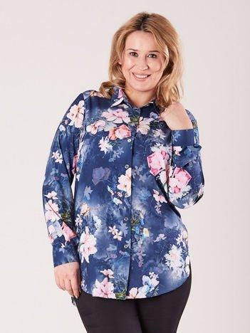 Niebieska kwiatowa koszula PLUS SIZE