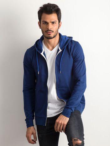 Niebieska męska bluza z kapturem