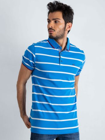 Niebieska męska koszulka polo Throwback