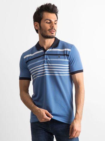 Niebieska męska koszulka polo w paski