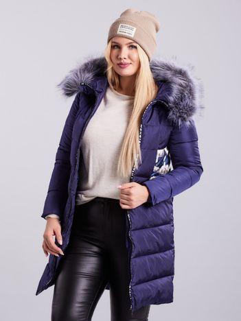 Niebieska pikowana kurtka zimowa PLUS SIZE