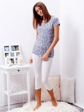 Niebieska piżama damska w kwiaty